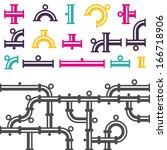 pipeline parts. vector... | Shutterstock .eps vector #166718906