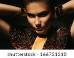 beautiful woman with hands... | Shutterstock . vector #166721210
