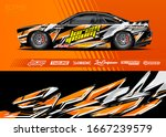 car wrap graphic livery design... | Shutterstock .eps vector #1667239579