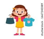 happy cute little kid girl... | Shutterstock .eps vector #1667240389