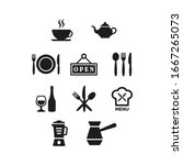 restaurant and cafe icons set...   Shutterstock .eps vector #1667265073