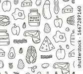 seamless pattern with doodle... | Shutterstock .eps vector #1667289160