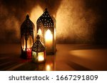 ornamental arabic lanterns with ... | Shutterstock . vector #1667291809