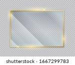 gold glass transparent banners. ... | Shutterstock .eps vector #1667299783