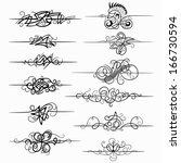 vector set of black decorative... | Shutterstock .eps vector #166730594