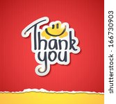thank you text on paper sticker ... | Shutterstock .eps vector #166730903