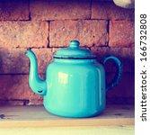 blue tea pot on the shelf and...   Shutterstock . vector #166732808