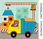dump truck with bear driver at construction of houses - vector illustration, eps     - stock vector