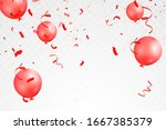 falling bright shiny red... | Shutterstock .eps vector #1667385379