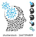 Dot Mosaic based on brain gears rotation. Mosaic vector brain gears rotation is composed with random ellipse spots. Bonus icons are added. - stock vector