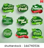 farm fresh  organic food label  ... | Shutterstock .eps vector #166740536