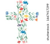 Watercolor Easter Cross Clipart....