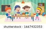 Four Little Children Eating At...
