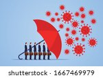 red umbrella protecting... | Shutterstock .eps vector #1667469979