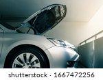 Modern Car With Bonnet Or Hood...