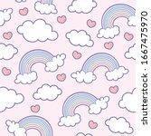 Rainbow  Cloud And Heart On A...