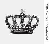 hand drawn crown. vintage... | Shutterstock .eps vector #1667497069
