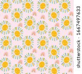 cute sunshine and rainbow... | Shutterstock .eps vector #1667497633