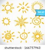 vector set of different suns... | Shutterstock .eps vector #166757963