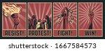 protest propaganda poster set ... | Shutterstock .eps vector #1667584573