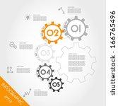 orange infographic gears in arc.... | Shutterstock .eps vector #166765496