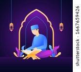 muslim man reading al quran the ... | Shutterstock .eps vector #1667659426