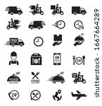 food delivery icons. vector... | Shutterstock .eps vector #1667664289