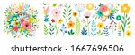 set of floral branch. flower... | Shutterstock .eps vector #1667696506