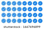 set of blue check mark badge... | Shutterstock .eps vector #1667696899