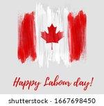 canada happy labour day. grunge ...   Shutterstock . vector #1667698450