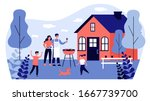 happy family doing barbecue at...   Shutterstock .eps vector #1667739700