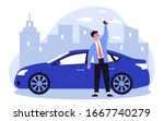 happy young man leasing car... | Shutterstock .eps vector #1667740279