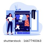 woman standing near opened... | Shutterstock .eps vector #1667740363