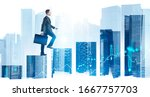 Small photo of Side view of confident young businessman with briefcase climbing bar chart in abstract city with double exposure of blurry digital graphs. Concept of career ladder and stock market