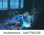 Small photo of Fantasy young beautiful sorceress woman. long blue dress touch divine old mirror. Predictor future fairy tale Snow White. magic power wind light spell. Mystic gothic art photo dark black medieval room