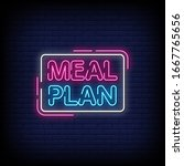 meal plan neon signs style text ... | Shutterstock .eps vector #1667765656