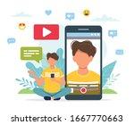 video blogger recording video... | Shutterstock .eps vector #1667770663