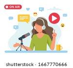 female podcaster talking to... | Shutterstock .eps vector #1667770666