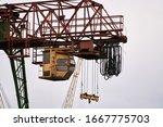 Cargo Cranes In Industrial Port.