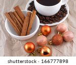 cup of coffee with cinnamon ... | Shutterstock . vector #166777898