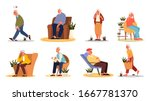 tired and sleepy old man and... | Shutterstock .eps vector #1667781370