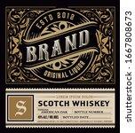 viintage label design. ornate... | Shutterstock .eps vector #1667808673