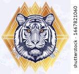 tiger portrait. dreamy magic...   Shutterstock .eps vector #1667821060
