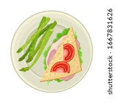 sandwich served on plate with... | Shutterstock .eps vector #1667831626
