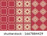 set of seamless patterns.... | Shutterstock .eps vector #1667884429