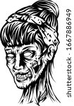 head of a zombie woman ... | Shutterstock .eps vector #1667886949
