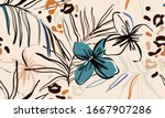 trendy contemporary floral... | Shutterstock .eps vector #1667907286