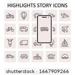 set of public transport related ... | Shutterstock .eps vector #1667909266