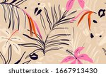 modern exotic jungle plants... | Shutterstock .eps vector #1667913430