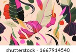 modern colorful exotic jungle... | Shutterstock .eps vector #1667914540